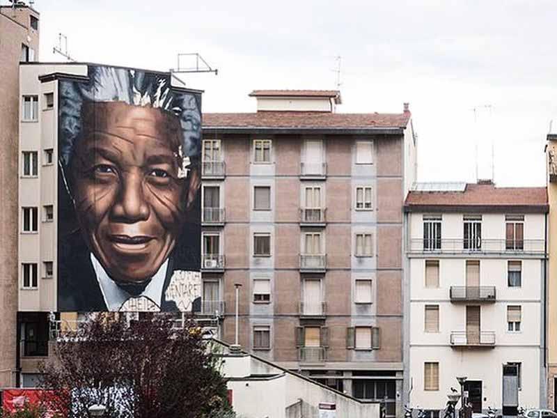 Murales Mandela piazza Lepoldo Firenze Jorit