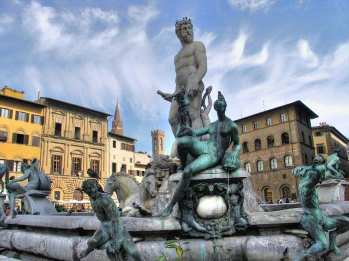 Restauro Biancone Firenze festa piazza Signoria