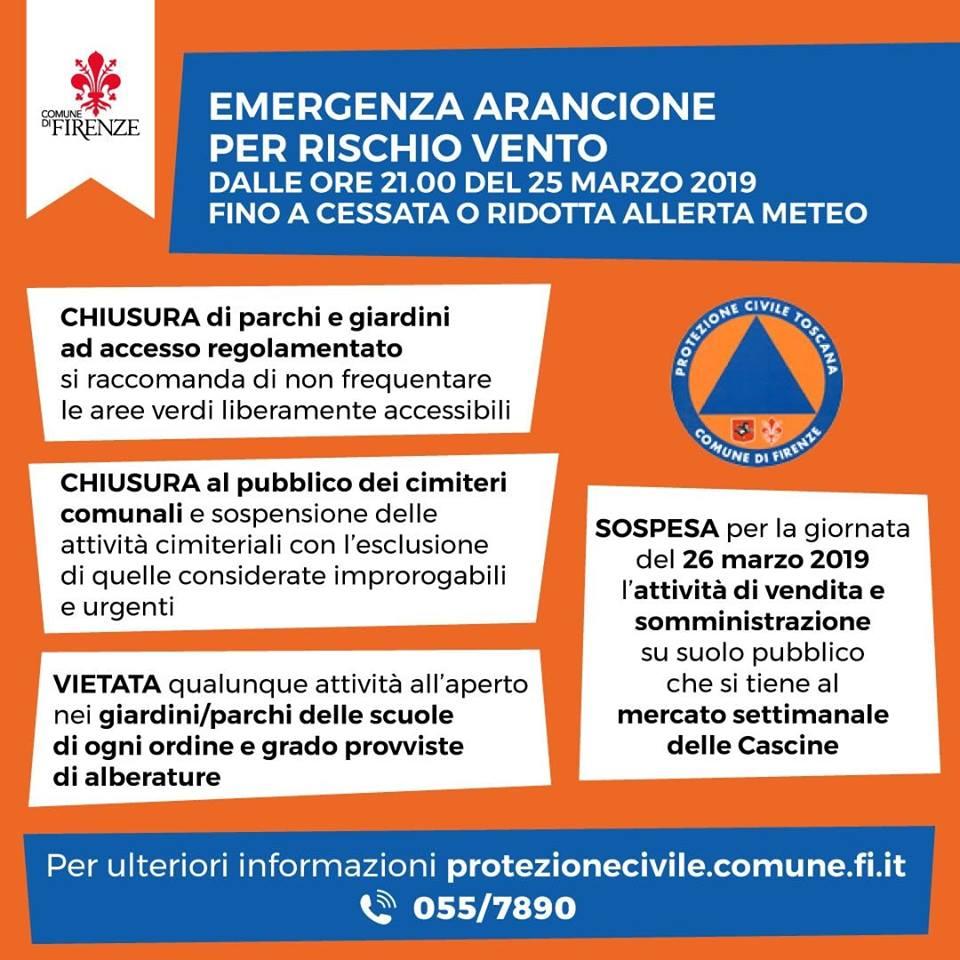 Vento Firenze allerta protezione civile giardini scuole mercato Cascine