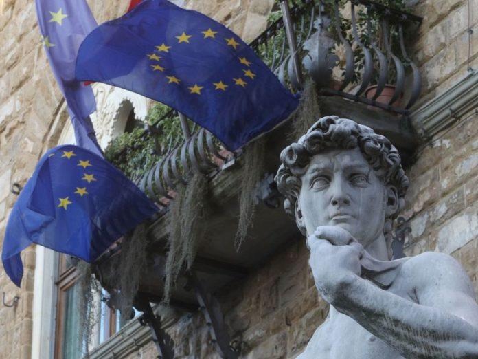Bandiera Europa Palazzo Vecchio Firenze Romano Prodi