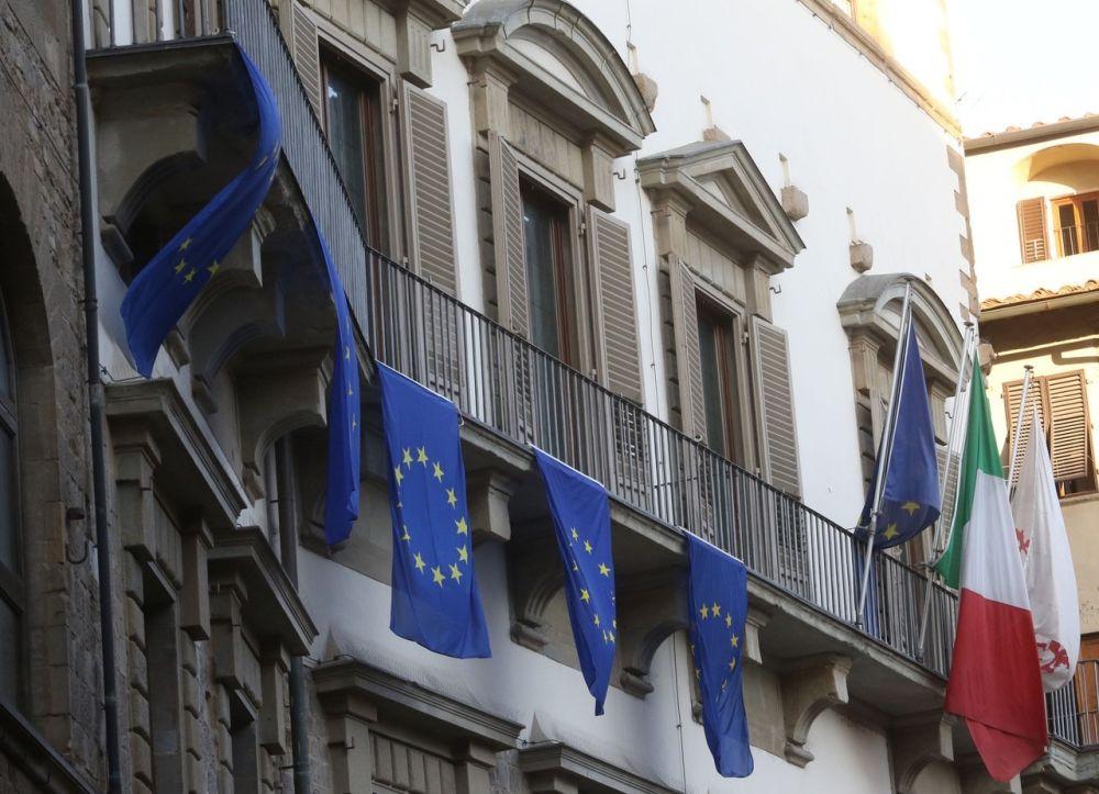 Bandiera europea 21 marzo Firenze Palazzo Vecchio Romano Prodi