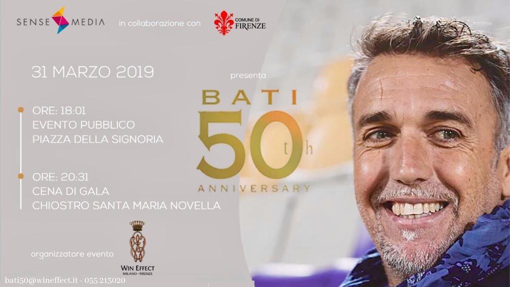 Festa Batistuta Firenze locandina 31 marzo piazza della Signoria cena gala