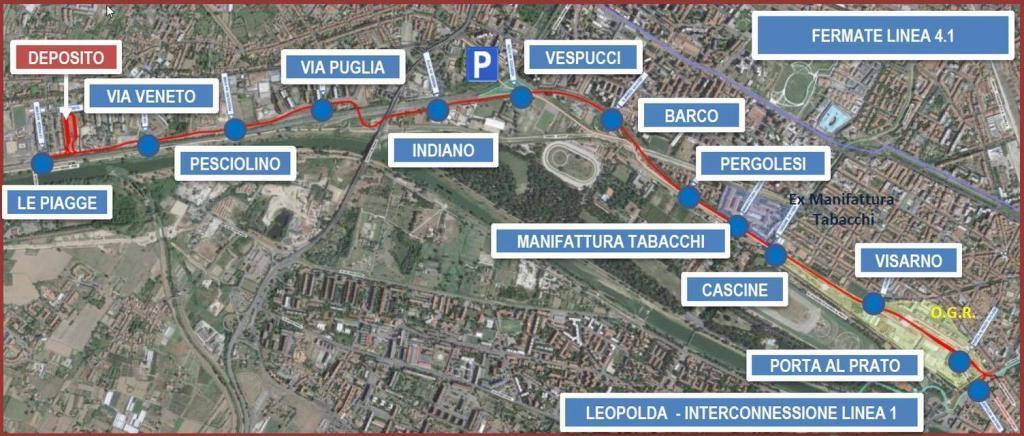 mappa linea 4 tramvia firenze percorso fermate