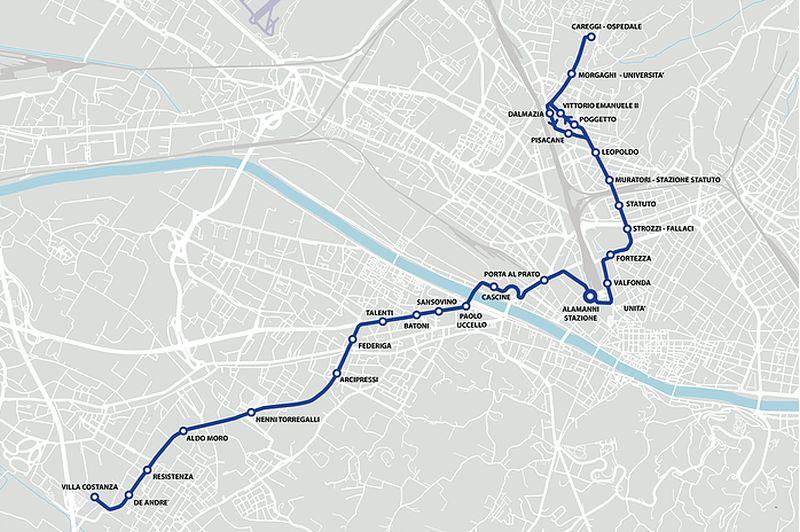 Tramvia linea uno fermate mappe percorso T1