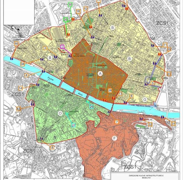 Ztl Firenze mappa zona traffico limitato orari
