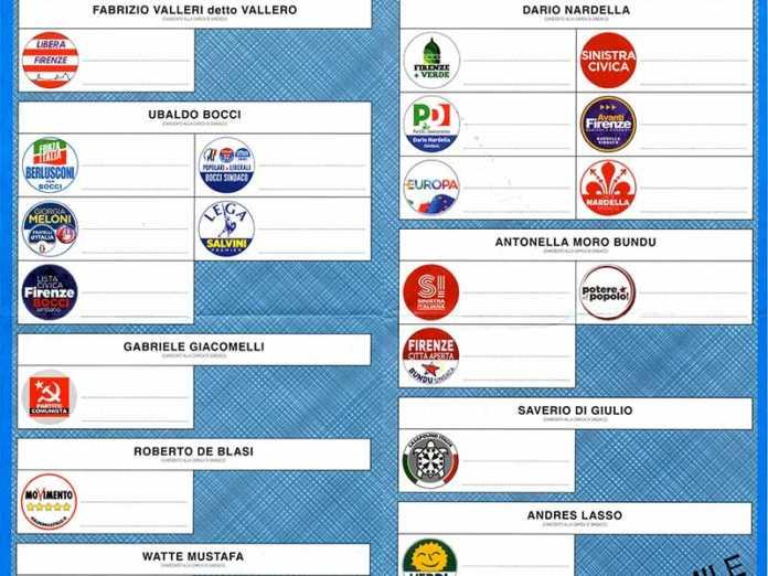 Elezioni Firenze, il facsimile della scheda elettorale