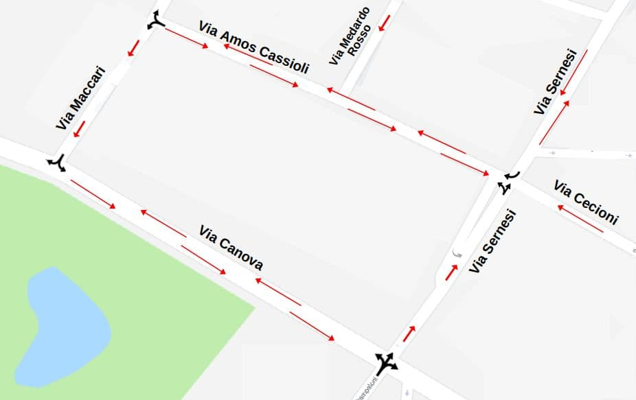 Mappa senso unico via Sernesi cambio senso via Maccari