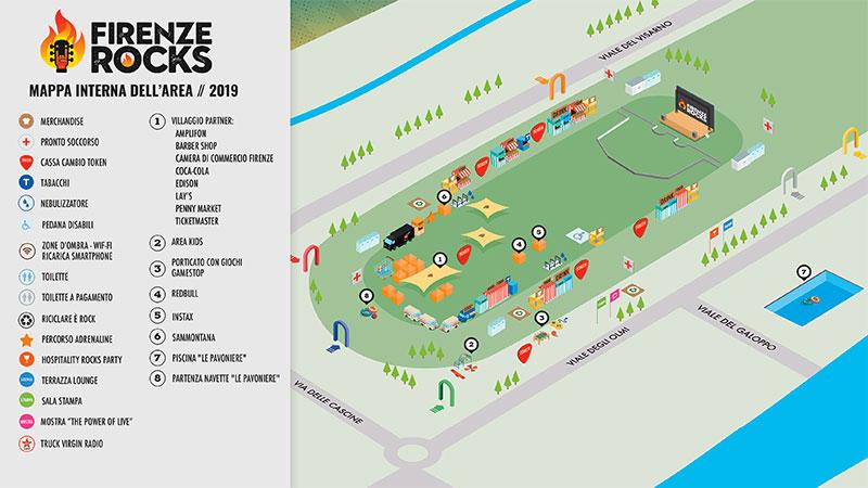 Firenze Rocks 2019 mappa