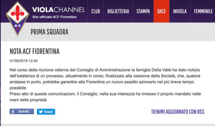Fiorentina, al via le trattative per la cessione della società