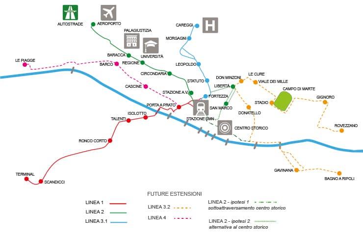 Mappa sistema tramvia Firenze