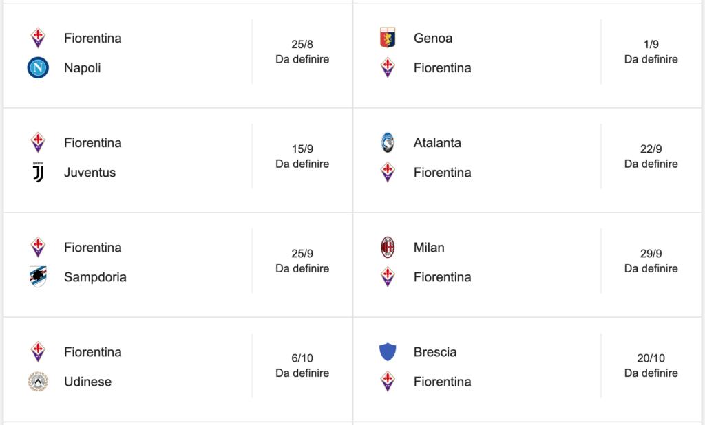 Calendario Partite Serie A 2020 2020.Serie A Il Calendario Della Fiorentina Debutto Col Napoli