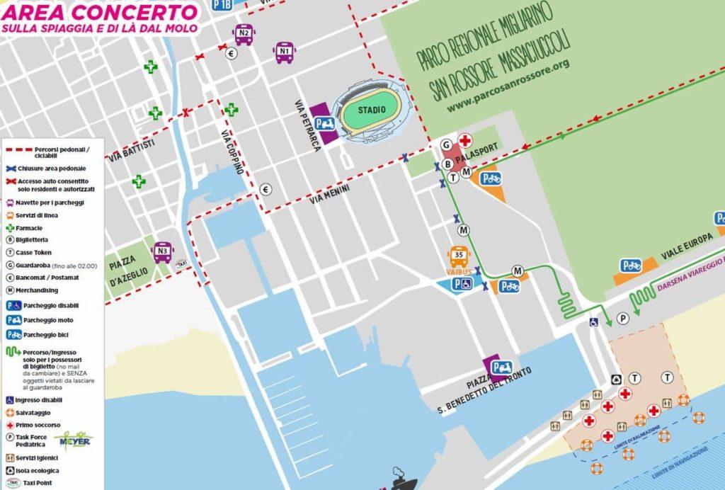 Jova beach party Viareggio mappa parcheggio treni 31 agosto