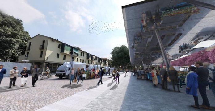 Piazza Isolotto progetto rendering cantieri