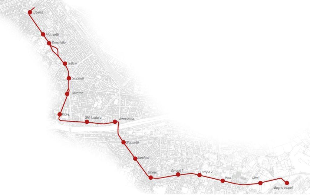 Tramvia linea 3 mappa fermate Firenze sud Bagno a Ripoli