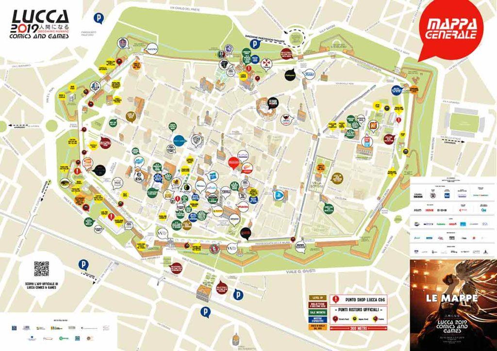 Lucca Comics 2019, la mappa