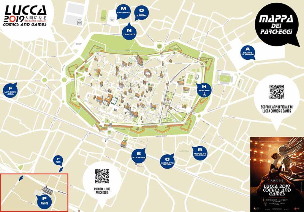 Lucca Comics & Games 2019, la mappa dei parcheggi