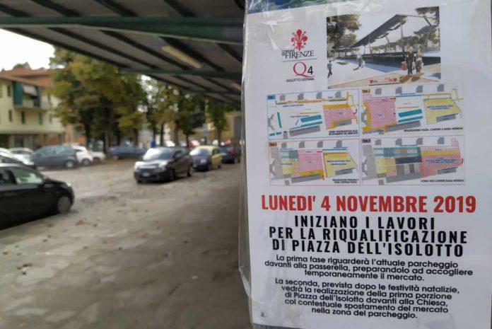 Piazza Isolotto Firenze lavori fasi progetto