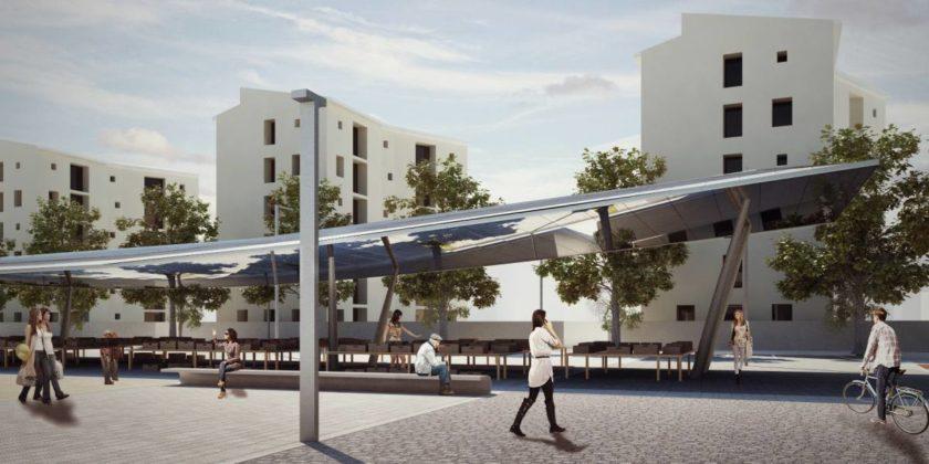 Piazza Isolotto rendering tettoia