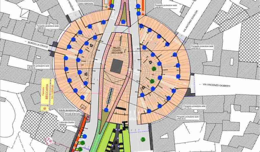 Planimetria piazza Beccaria tram