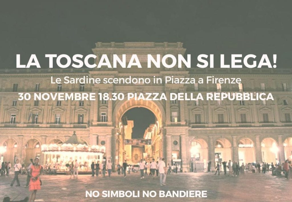 Toscana non si lega manifestazione sardine Firenze piazza Repubblica Facebook 30 novembre