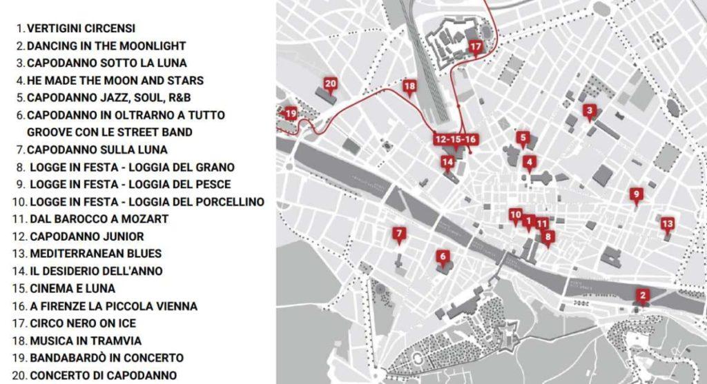 Capodanno Firenze mappa eventi 31 dicembre