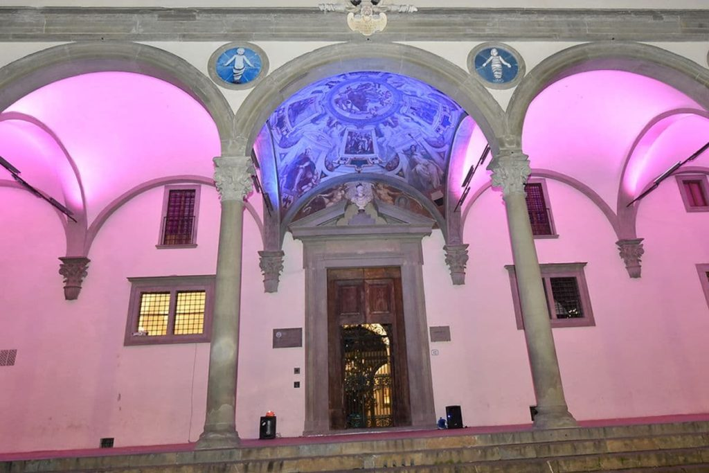 festival luci Firenze piazza SS Annunziata Istituto Innocenti