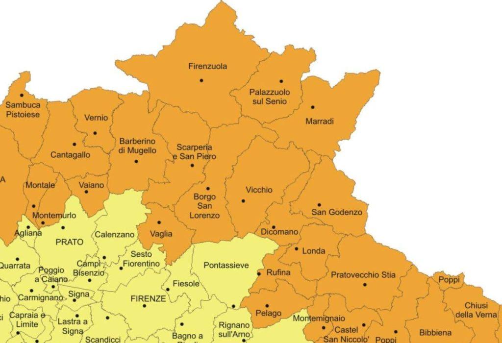 Mugello mappa sismica Regione Toscana