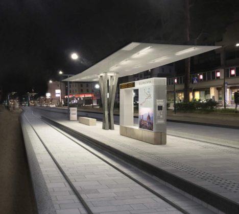 Tramvia linea 3 Europa fermata notte rendering progetto