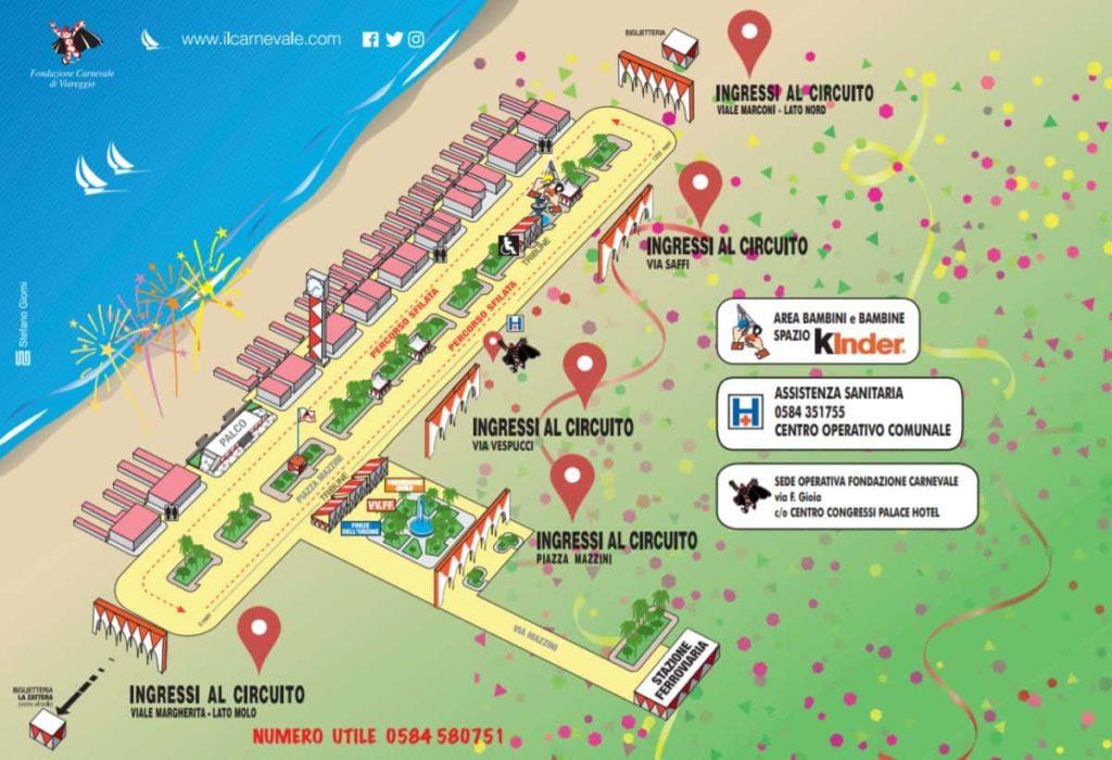 Carnevale Viareggio dove si svolge mappa cartina percorso