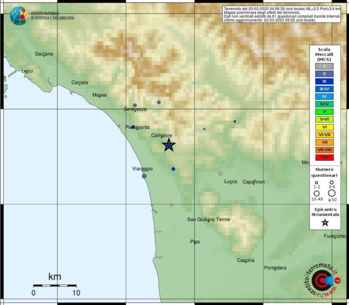 Terremoto Toscana Camaiore 20 marzo