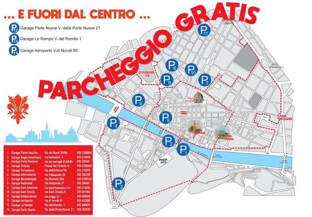 parcheggio Firenze centro gratis lista parcheggi mappa garage