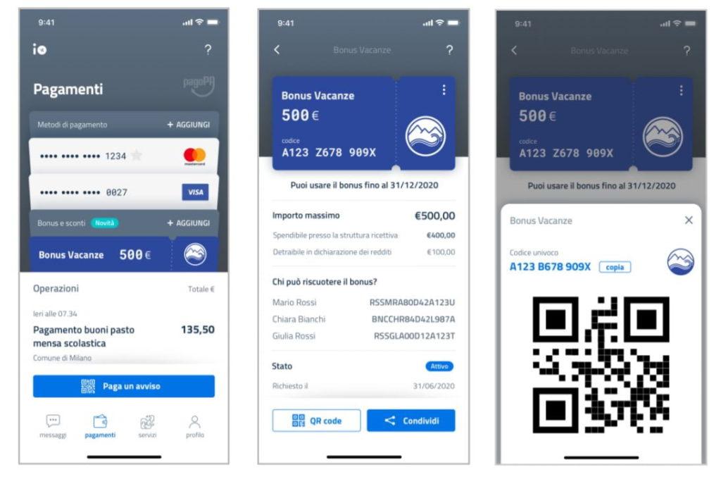 App IO Bonus vacanze 2020 Pagamenti Isee Spid Agenzia entrate Inps
