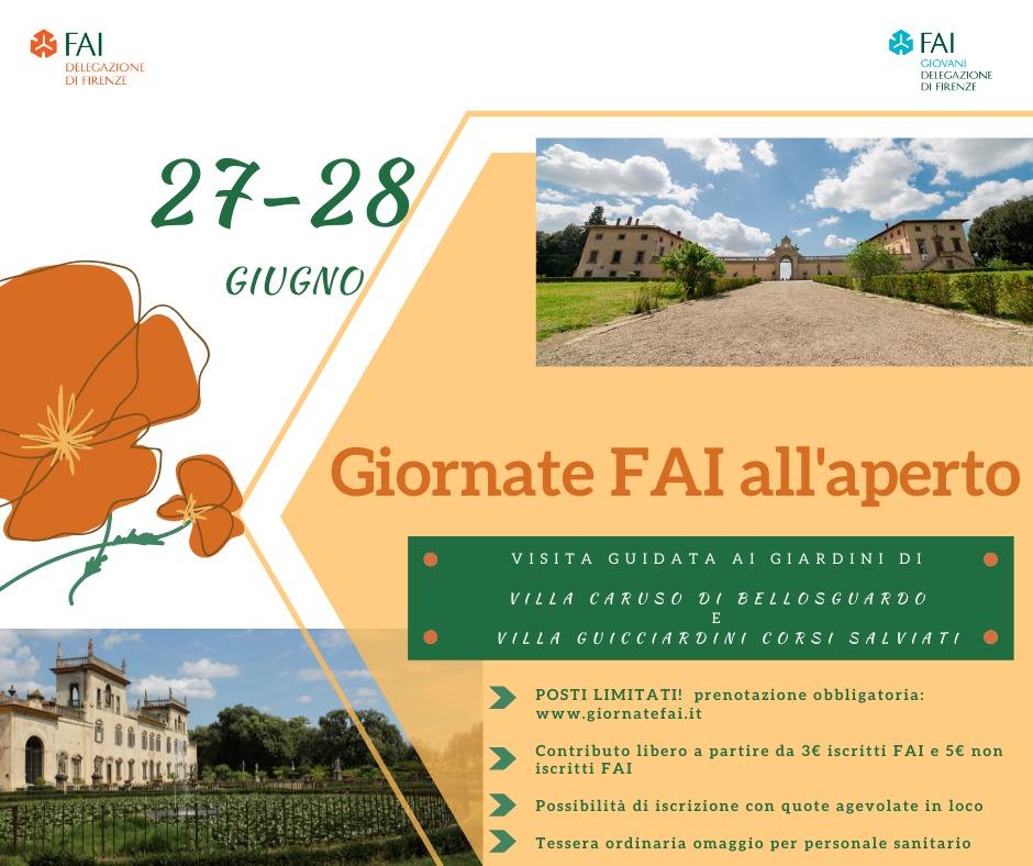 Giornate FAI all'aperto Firenze 27 28 giugno 2020