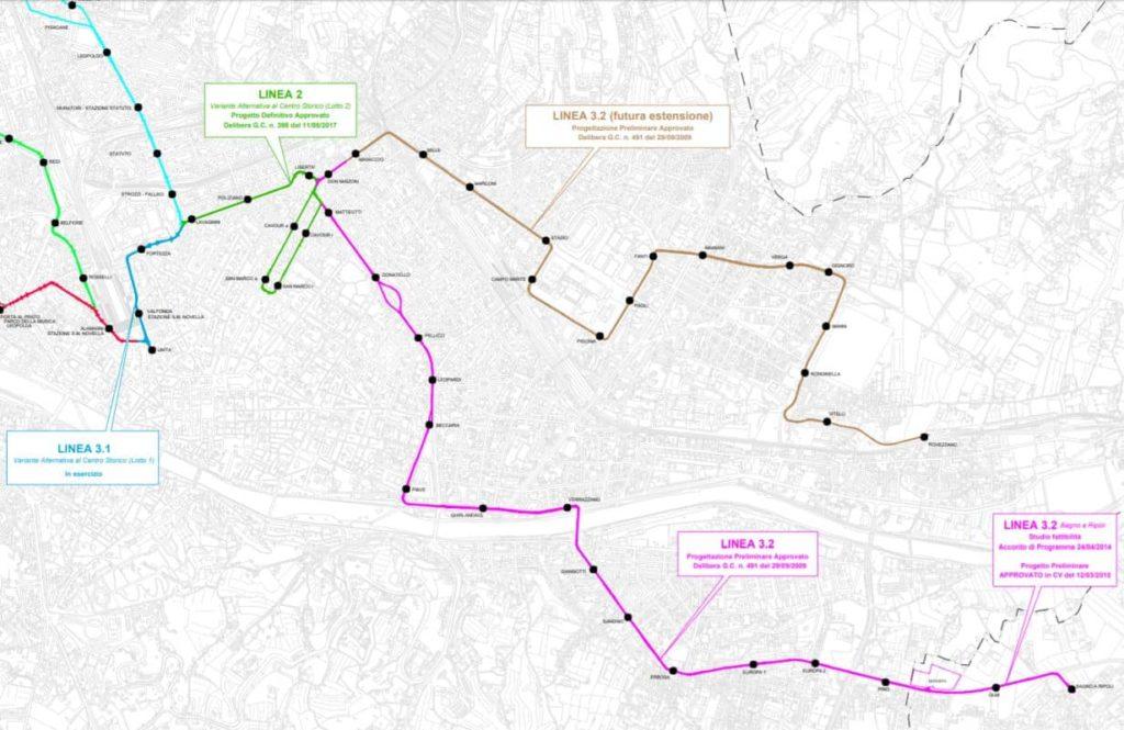 Cartina nuova tramvia linea 3