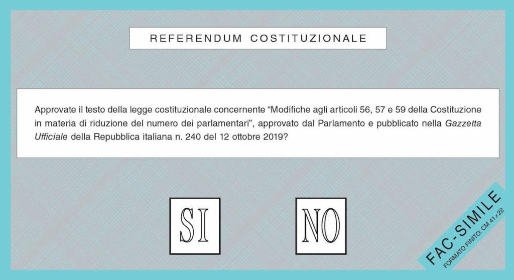 Referendum settembre 2020 scheda elettorale facsimile