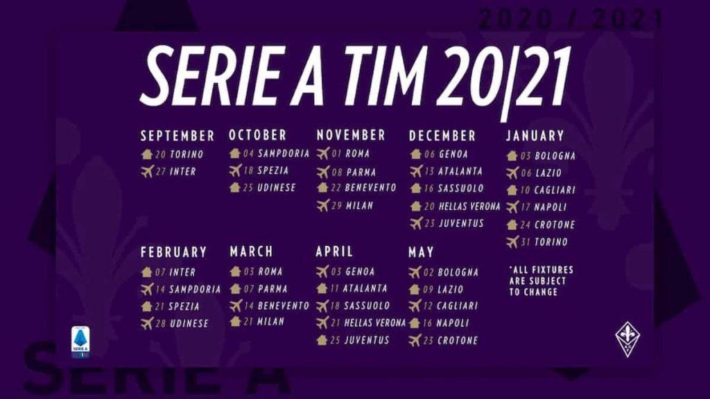 Date partite Fiorentina serie A 2020 2021