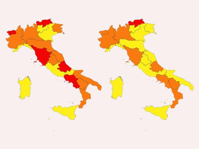 Cambio di colore per le regioni, oggi l'ordinanza: zona rossa e arancione, chi cambia