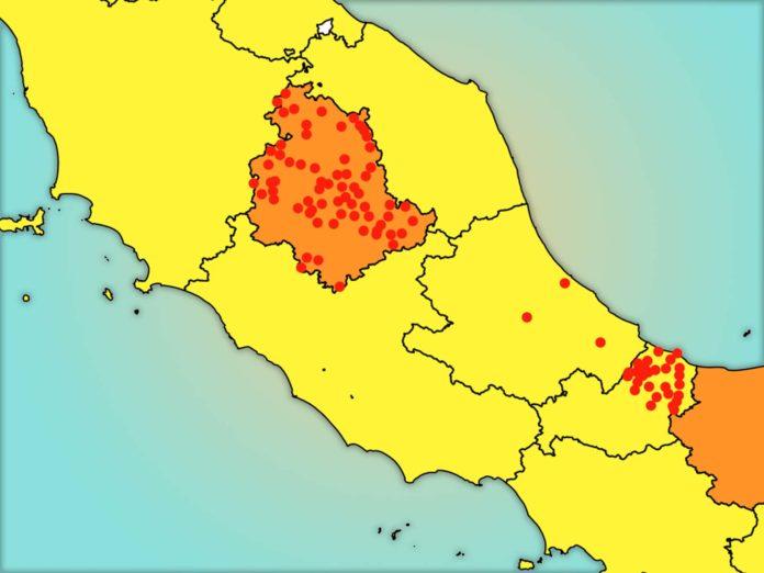 Quali sono i comuni in zona rossa: Umbria, Abruzzo, Molise. La mappa