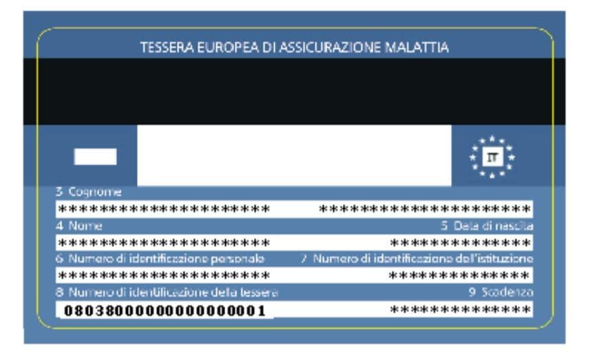 Numero identificativo tessera sanitaria facsimile