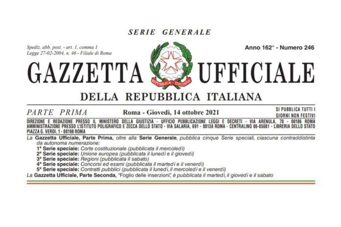 Gazzetta Ufficiale Dpcm green pass pdf ottobre 2021