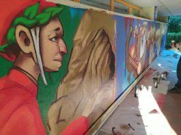 Dante pop e il murale di 15 metri a Bagno a Ripoli